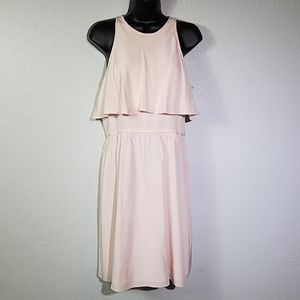 Tibi Baby Pink Silk Double Layer Popover Dress 8